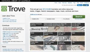 Trove homepage