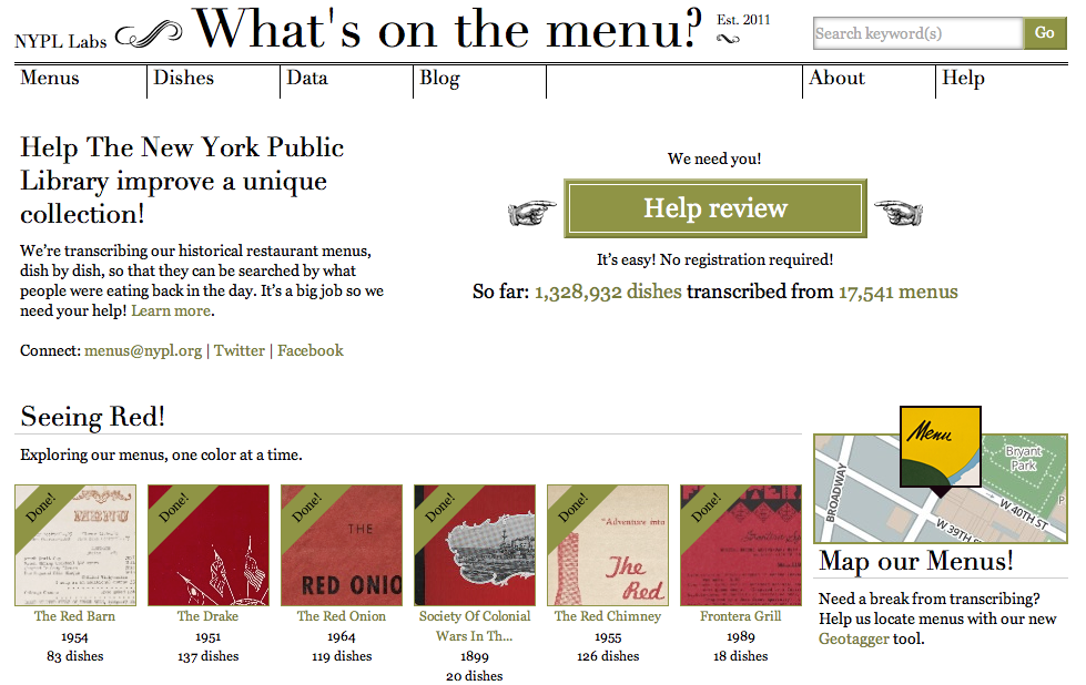 What's on the Menu? homepage