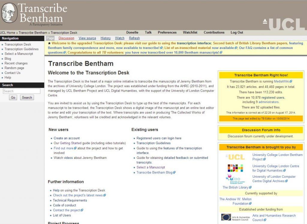 Transcribe Bentham homepage